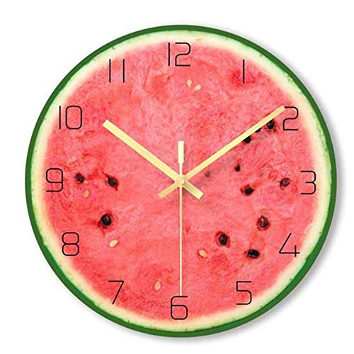 NGXIWW Wall Clock Decoration Outdoor Garden Wall Cloc with Watermelon Calendar LED Night Light Thermometer Is Suitable for Living Room Bedroom Furniture
