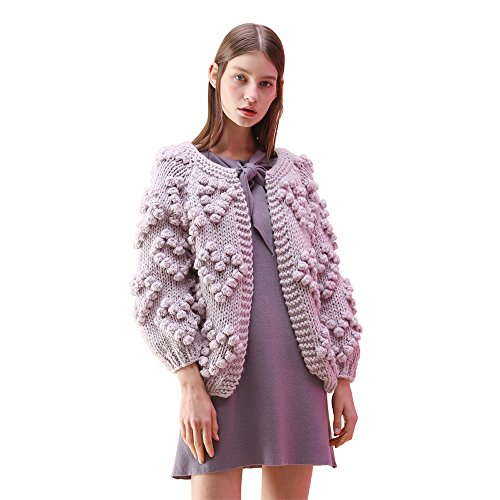 Chicwish Women's Comfy Casual Soft Heart Shape Balls Hand Knit Open Front Long Sleeve Lavender Sweater Cardigan Coat, Lavender, Large/X-Large