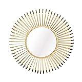 ZHENAO Ilustraciones Pared Redonda Espejo de Pared Decorativos, Oro 31.4' Metal 3D Starburst Espejo Colgante de Pared, Moderna Decoración de Boho de la Sala de Estar, Baño, Dormitor