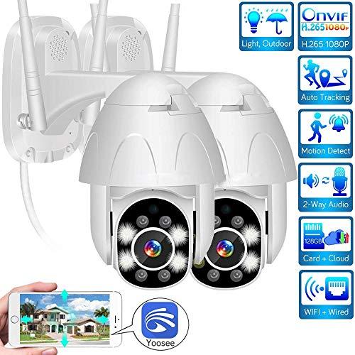 Crazy rice PTZ WiFi-camera cctvIP66 waterdichte camera met twee-weg audio/nachtzicht/bewegingsdetectie, H.265 1080P IP-camera, maximale ondersteuning 128 GB SD-kaart, ondersteuning Yoosee, cloudservice