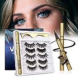 VICHFA Natural Lashes and Eyeliner Kit Self - Adhesive Eyeliner Glue Kit 5 Pairs Pack Not Magnetic Eyelashes and Eyeliner