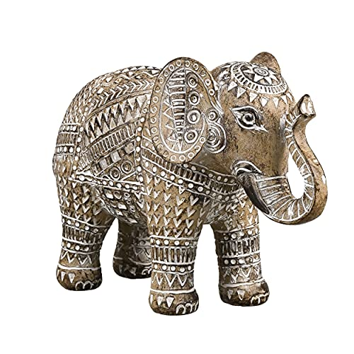 TERESA'S COLLECTIONS Tribe Elephant Statue Rustic Home Decorations for Living Room, Boho Tribal Sculpture Resin Animal Collectible Figurines for Indoor Decor, 6.3 inch