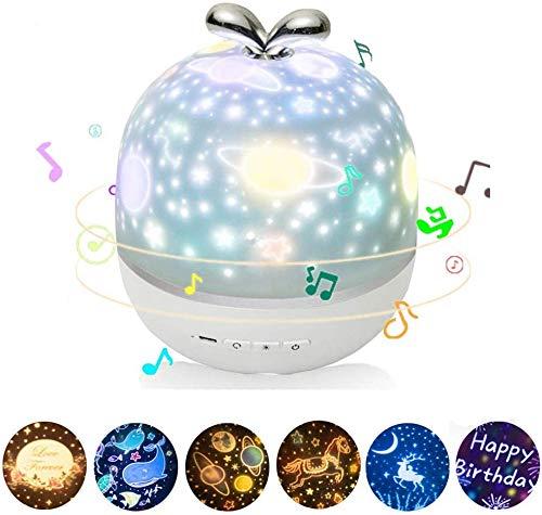 ZJING LED-projektionslampe, Kindernachtlampe Mit Spieluhr Und 6 Arten Von Einstellbaren Projektionseffekten Nachtlampe 360 Rotierender Sternenhimmelprojektor Kinderzimmer Kindergarten