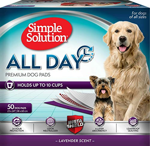 Simple Solution Training Pads for Dogs, All Day Premium, Lavender, 23x24 Inch, 50 Count (50 ct)