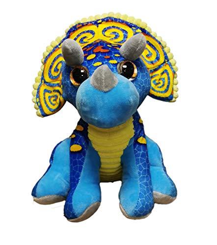 dino Peluche de Dinosaurio Triceratops de 11'/28cm Calidad Super Soft (28cm, Azul/Amarillo)