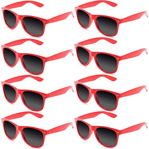 FSMILING 8 Stück Neon Farben Partybrillen Großhandel 80er Jahre Retro Klassisch Promo Sonnenbrille(Rot)