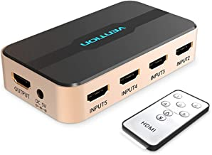 VENTION HDMI Interruptor, HDMI Splitter Switch 5 Entrada 1 Salida HDMI Interruptor 5X1 con IR Mando a Distancia para Xbox 360 PS4/3 Smart Android HDTV 4K*2K 5 Puerto HDMI Adaptador