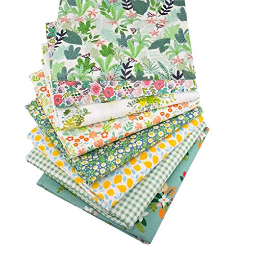 """Qimicody Fat Quarters Fabric Bundles, 8 Pcs 100% Cotton 20"""" x 20"""" (50cmx50cm) Precut Quilting Fabric Squares Sheets for DIY Patchwork Sewing Quilting Crafting, No Repeat Design (Floral Pattern A)"""