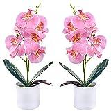 Flores de orquídeas Artificiales - 2 Piezas de Flores de orquídeas Falsas en macetas con jarrón de plástico para Centro de Mesa de Oficina en casa decoración de Fiesta de Boda (Rosa)