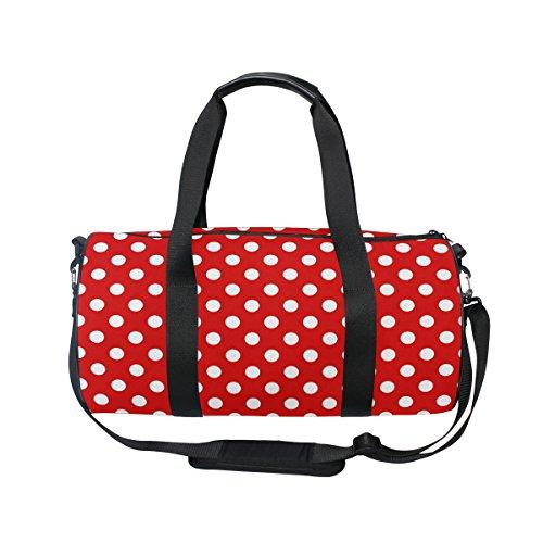 ALAZA Stylish Red Polka Dot Sports Gym Duffel Bag Travel Luggage Handbag for Men Women