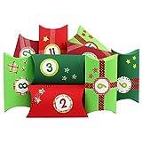 Papierdrachen Calendario de Adviento - con Pegatinas de números y Rollos Washi Tape - 24 cajitas cuadradas de cartón - Motivos Rojo y Verde