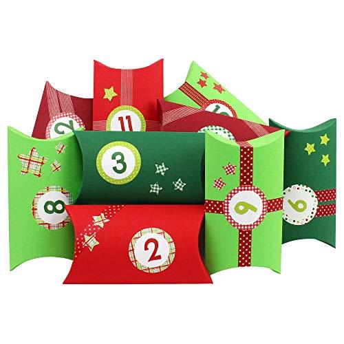Papierdrachen Calendario dell'Avvento Fai-da-Te - con Washi Tape e Adesivi con Numeri - 24 scatole a Cuscino in Cartone - Motivo Rosso-Verde