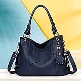RSRA Bolsos de mano para mujer Diseñador grande Hobo bag Bucket Purse PU-Azul oscuro