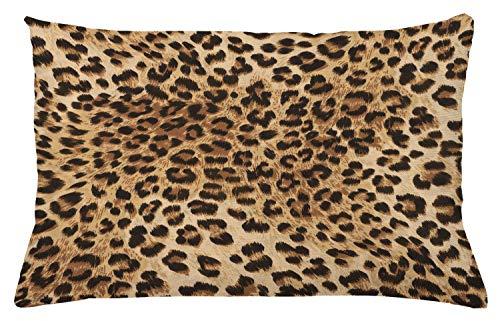 ABAKUHAUS Estampado de Leopardo Funda para Almohada, Piel de Animal Salvaje, con Cremallera Escondida Lavable Estampa en Ambos Lados, 65 x 40 cm, Marrón pálido Negro