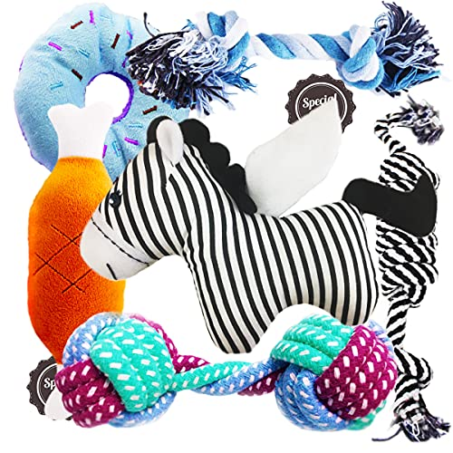 Interactive Small Dog Chew Toys - Dog Teething & Rope Toys Set