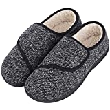 LongBay Men's Memory Foam Diabetic Slippers Comfy Warm Plush Fleece Arthritis Edema Swollen House(11 UK, Black)
