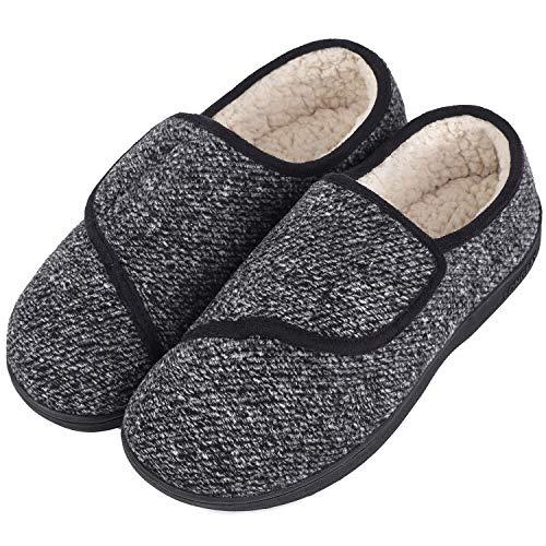 LongBay Men's Memory Foam Diabetic Slippers Comfy Warm Plush Fleece Arthritis Edema Swollen House Shoes (10 D(M), Black)