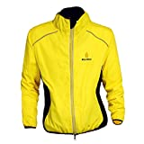 Fancybox WOLFBIKE - Jersey de ciclismo para hombre, transpirable, para bicicleta, manga larga, color amarillo, S)