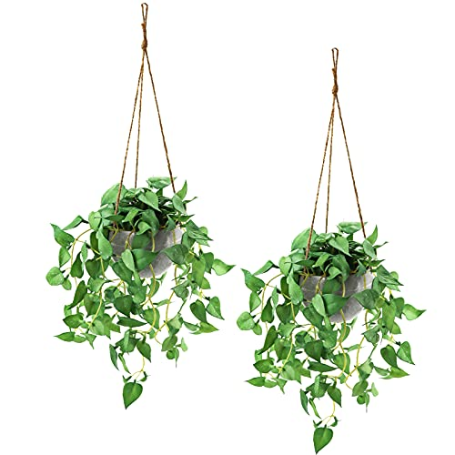 Hanging Plant Fake Hanging Plants with Pots, 2 Pack Artificial Hanging Plants,...