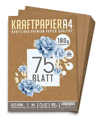 75 Blatt Kraftpapier A4 Set - 180 g - 21 x 29,7 cm - DIN Format - Bastelpapier & Naturkarton Pappe Blätter aus Kraftkarton zum Drucken, Kartonpapier Basteln für Vintage Hochzeit Geschenke Etiketten