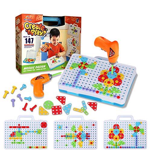 Haifeng Giocattolo Trapano Bambini Montessori, Set di Giocattoli Educativi Giochi, Strumento di Costruzione del Cacciavite del Trapano Elettrico dei Bambini Regalo per 3-8 Anni