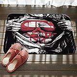 Nunubee Flannel Felpudo Entrada Exterior e Interior Entrada Antideslizante Alfombra Terraza Cocina Hogar Hogar Alfombra- Superman de Dibujos Animados Creativo-3 80 * 50