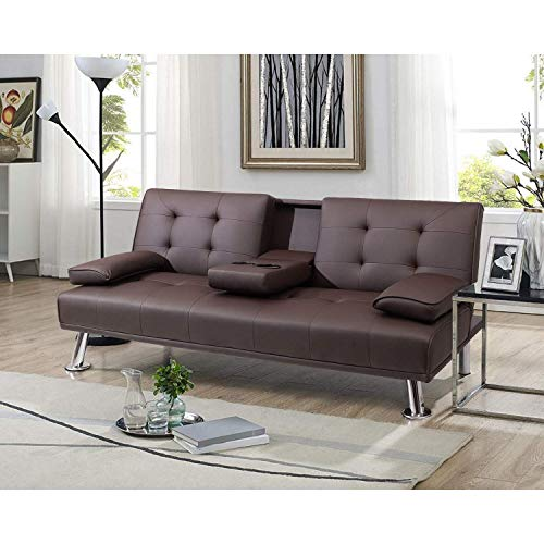 Pawnova PA-FSP203 Futon Sofa Bed, Modern Faux Leather Convertible Folding Lounge Couch for Living Room with 2 Cup Holders Removable Soft Armrest and Sturdy Metal Legs, Brown