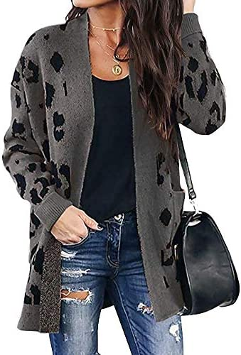 BTFBM Women Chic Leopard Print Cozy Sweater Pockets Button Down Open Front Loose Knitted Long product image