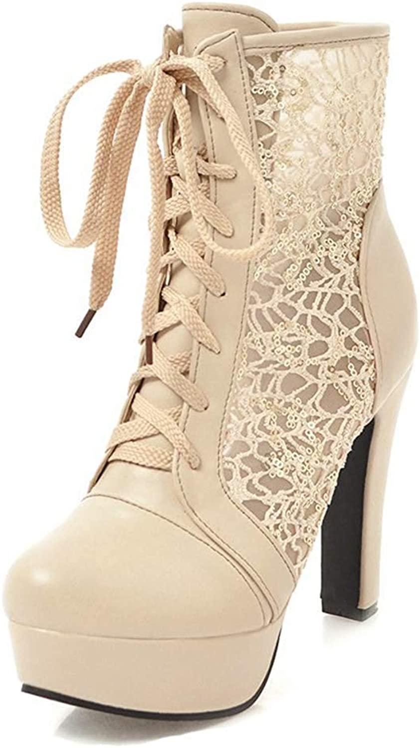 Unm Women's Elegant Laces Round Toe Dress Short Boots Lace Up Chunky High Heel Platform Ankle Booties