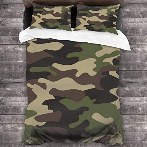 KDRW Bedding Set Army Color Pattern Background 3 Piece Duvet Cover Set Wrinkle Resistant Bed Quilts with Zipper Closure Comfy Bed Sheets Set with 2 Pillowcase 86'' x70