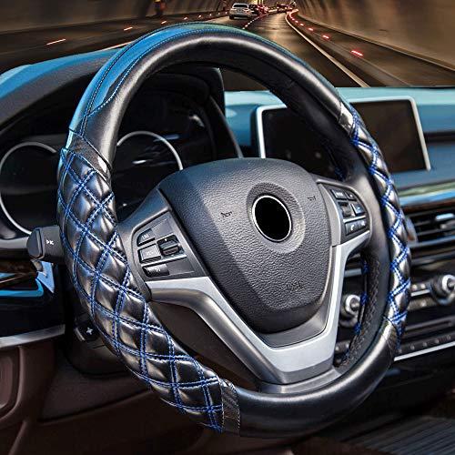 Universal Auto Geometrie Design Lenkradhülle für Mann & Damen - FLKAYJM Mikrofaser Leder Lenkradbezug 15 Zoll/37-38cm Anti Rutsch Lenkradabdeckung Atmungsaktiv Lenkradschutz Soft Lenkradschoner,Blau