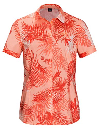 Jack Wolfskin Women's Sonora Palm Shirt Short Sleeve, Medium, Apricot Pastel All Over