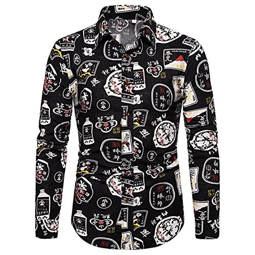 Ocuhiger Camisas Casuales De Moda para Hombres Camisa De Manga Larga con Cuello Vuelto Camisa Ajustada con Botones Blusa Estampado Digital De Rayas para Hombres Negro