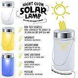 LED Solarlampe – Die Sonnen-Lampe Deko Sun Jar Solar-Laterne im Einmachglas mit Bügel; Warm-Weißes Licht - 3