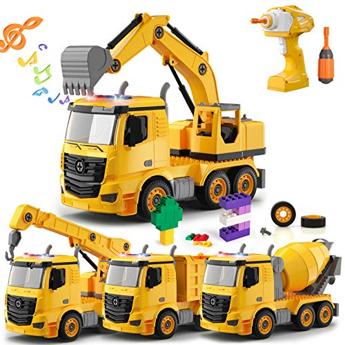 Temi Take Apart Toys with Electric Drill,4 in One Construction Truck Converts to Remote Control Car w/ Pcs Blocks & Figures,Light & Sound,Gift Toys for Boys 3 4 5 6 7 Year Olds,Kids Stem Building Toy