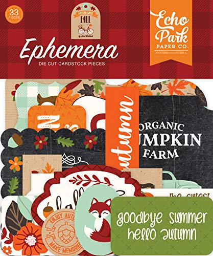 Echo Park Paper Company My Favorite Fall ephemera, orange, red, teal, black, green, tan |