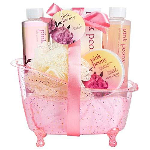 Home Spa Geschenkkorb, angenehm duftendes Pfingstrosen-Spa-Set für Frauen, luxuriöses Bade- und Körper-Set für Frauen, enthält Duschgel, Schaumbad, Körperlotion, Pfingstrosen-Badesalz und Schwamm, in einer rosa weiblichen Wanne