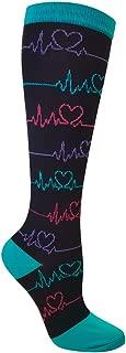 Nurse Mates EKG Heart and Holiday Compression Trouser Socks