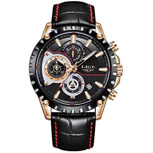 LIGE Relojes Hombres Cronógrafo Impermeable Militar Deportivo Analógico de Cuarzo Relojes Hombre Moda Cuero Negro Calendario Regalos Reloj