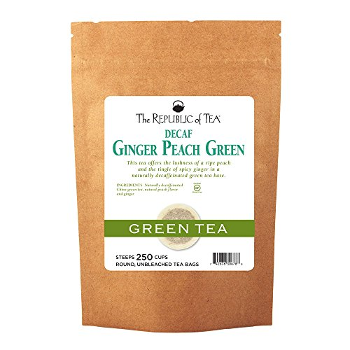 The Republic of Tea Decaf Ginger Peach Green Tea, 250 Tea Bags, Spicy Ginger Tea Gourmet Blend