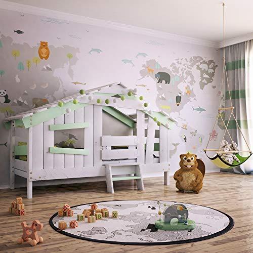 bibex APART Chalet Kinderbett, Spielbett, Jugendbett, Spielhaus, Massive Kiefer, sanft-grün, (Türchen)