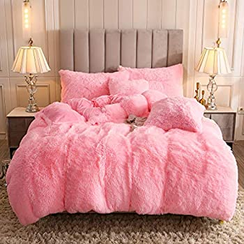 Uhamho Faux Fur Velvet Fluffy Bedding Duvet Cover Set Down Comforter Quilt Cover with Pillow Shams Ultra Soft Warm and Durable  King Pink