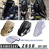 XX eCommerce para Kawasaki Z650 Z-650 Z 650 2017 2018 2019 Doble Burbuja Parabrisas Parabrisas Pantalla Protector Visera Visera con Soporte Motocicleta Z 650 (Fumar)