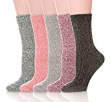 Womens 5 Pairs Soft Thick Comfort Casual Cotton Warm Wool Crew Winter Socks (5 Pack Solid color A)