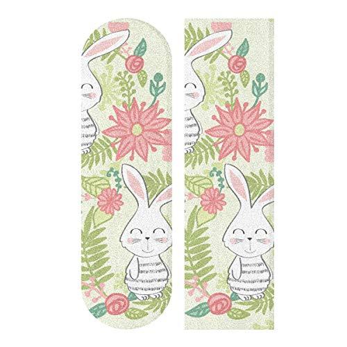 N\A 33.1x9.1inch Sport Outdoor Skateboard Aufkleber Bunny Cute Child Rabbit Mit Blumen Print Wasserdichtes Custom Skateboard Grip Tape Für Tanzbrett Double Rocker Board Deck 1 Blatt