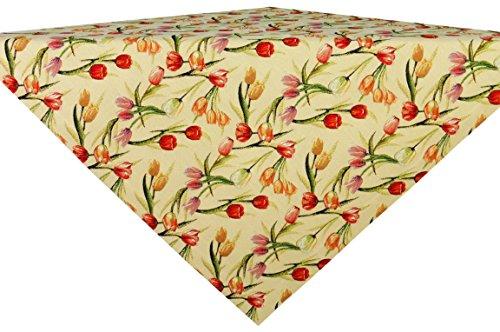 Frühling Tischdecke Tulpen in Gobelin - Optik,Größe ca. 85 cm x 85 cm, kräftiges Material,für den Innen- als auch Außenbereich geeignet.Pflegeleicht, 100% Polyester
