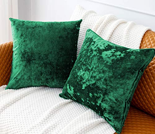 HORIMOTE HOME Pack of 2 Crushed Velvet Green Square Cushion Covers for Sofa Couch Chair, Christmas Decorative Cushions Pillow Covers for Livingroom Bed Car 45x45cm