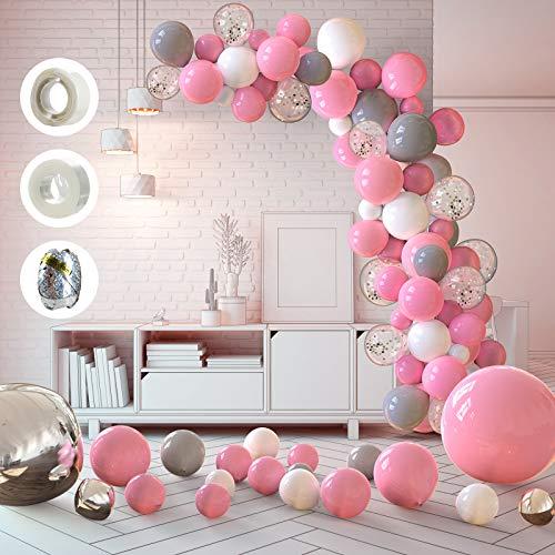 WayEee Globos de Cumpleaños 121 Pcs Globos de Látex para Decoraciones de Fiesta Cumpleaños,Boda,Baby Shower Festival Globos de Colores Rosa Blanco