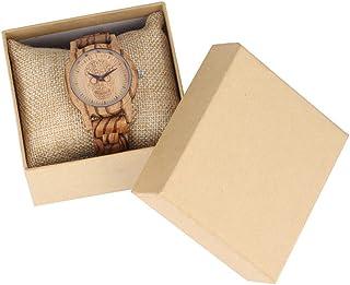 CAIDAI&YL Vintage Punk Grabado Flor Calavera Reloj de Madera Reloj de Madera Completo para Mujer Reloj de Pulsera Reloj de...