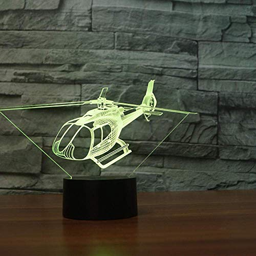 3D Night Light Helicopter 3D Visual Lamp Couleurs Change Illusion D'Optique Touch Table Desk Led Night Light Great Kids Gifts Décoration De La Maison